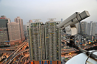 A camera looks down over Wang Ye  Hao Yuan aprtment building , Shenzhen, China.  A scandal ensued when it was found that a night watchman had used the camera to spy on the building occupants.