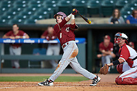 Michael Strem (10) of the Boston College Eagles follows through on his swing against the North Carolina State Wolfpack in Game Two of the 2017 ACC Baseball Championship at Louisville Slugger Field on May 23, 2017 in Louisville, Kentucky. The Wolfpack defeated the Eagles 6-1. (Brian Westerholt/Four Seam Images)