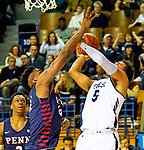 February 28, 2020:  Azar Swain [5] attempts a shot as the Bulldogs [white] defeated Penn, 76-73.  Yale was down 10 points with 2:28 left  .The exciting Ivy League game was held at Payne Whitney Gymnasium in New Haven Connecticut.  Heary/Eclipsesportswire/CSM