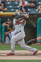 Jorge Mateo (14) of the Nashville Sounds bats against the Salt Lake Bees at Smith's Ballpark on July 28, 2018 in Salt Lake City, Utah. The Bees defeated the Sounds 11-6. (Stephen Smith/Four Seam Images)
