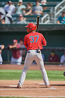 Adrian Rondon (37) of the Orem Owlz at bat against the Idaho Falls Chukars at Melaleuca Field on July 14, 2019 in Idaho Falls, Idaho. The Owlz defeated the Chukars 6-2. (Stephen Smith/Four Seam Images)