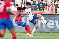 SANDY, UT - JUNE 10: Antonee Robinson #5 of the United States passes the ball during a game between Costa Rica and USMNT at Rio Tinto Stadium on June 10, 2021 in Sandy, Utah.
