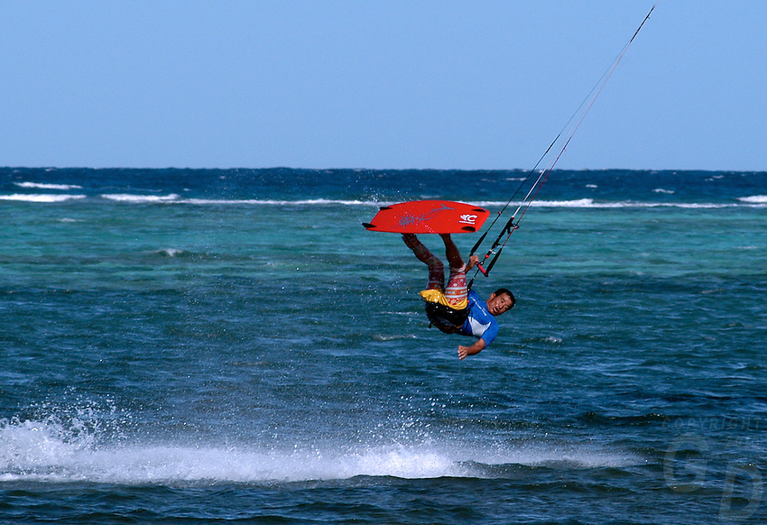 Kite boarding action, of the island of Boracay, Philippines