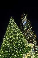 Photography of the Uptown Charlotte Christmas Tree Lighting. The lights on the square event takes place at Trade and Tryon Street in Uptown Charlotte. Santa was on hand of the annual family friendly tree lighting event in Charlotte, North Carolina. <br /> <br /> Charlotte Photographer - PatrickSchneiderPhoto.com