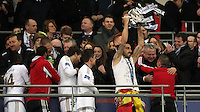Pictured: Swansea players celebrating with the cup. Sunday 24 February 2013<br /> Re: Capital One Cup football final, Swansea v Bradford at the Wembley Stadium in London.