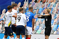 Referee Gavin Ward  has words as things get during Portsmouth vs Oxford United, Sky Bet EFL League 1 Play-Off Semi-Final Football at Fratton Park on 3rd July 2020