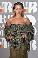 Rita Ora<br /> arrives for the BRIT Awards 2017 held at the O2 Arena, Greenwich, London.<br /> <br /> <br /> ©Ash Knotek  D3233  22/02/2017
