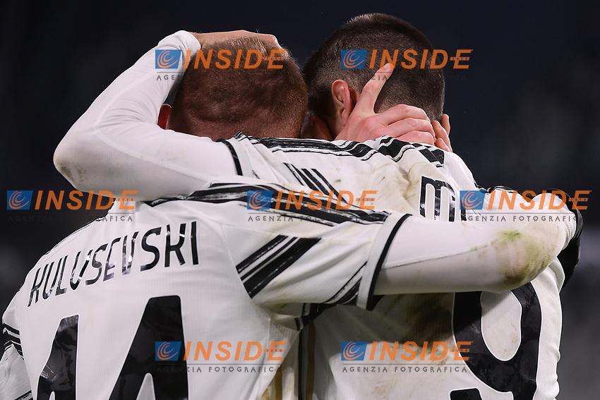 Alvaro Morata of Juventus FC celebrates with Dejan Kulusevski after scoring the goal of 2-0 during the Italy Cup round of 16 football match between Juventus FC and Genoa CFC at Juventus stadium in Torino (Italy), January 13th, 2021. Photo Federico Tardito / Insidefoto