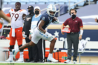 CHAPEL HILL, NC - OCTOBER 10: Dyami Brown #2 of North Carolina runs with the ball after a catch during a game between Virginia Tech and North Carolina at Kenan Memorial Stadium on October 10, 2020 in Chapel Hill, North Carolina.