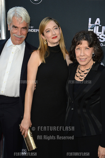 """Sam Elliott, Judy Greer & Lily Tomlin at the premiere of their movie """"Grandma"""", the opening movie of the Los Angeles Film Festival, at the Regal Cinema LA Live.<br /> June 11, 2015  Los Angeles, CA<br /> Picture: Paul Smith / Featureflash"""