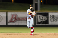 Surprise Saguaros second baseman Andy Young (29), of the St. Louis Cardinals organization, throws to first base during an Arizona Fall League game against the Scottsdale Scorpions at Scottsdale Stadium on October 15, 2018 in Scottsdale, Arizona. Surprise defeated Scottsdale 2-0. (Zachary Lucy/Four Seam Images)