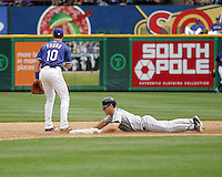 Seattle Mariners C Jeff Clement slides into 2nd against the Texas Rangers on May 14th, 2008 at Texas Rangers Ball Park. Photo by Andrew Woolley / Four Seam Images.