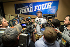 Mar. 26, 2015; Jerian Grant (22) answers questions outside the locker room following the regional semifinal of the 2015 NCAA Tournament. Notre Dame defeated Wichita State 81-70. (Photo by Matt Cashore/University of Notre Dame)