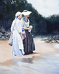 """Maine coast fishermen's wives on the beach watching their husband's fishing boats come over the ocean horizon. Oil on canvas, 20"""" x 16""""."""
