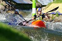 5th September 2021; Parc Olimpic del Segre, La Seu D'Urgell ICF Slalom World Cup, Women's  Extreme Slalom Semi-Finals;  Evy Leibfarth (USA) and M. Satkova (CZE)