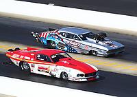Oct 14, 2019; Concord, NC, USA; NHRA pro mod driver Justin Bond (near) alongside Doug Winters during the Carolina Nationals at zMax Dragway. Mandatory Credit: Mark J. Rebilas-USA TODAY Sports