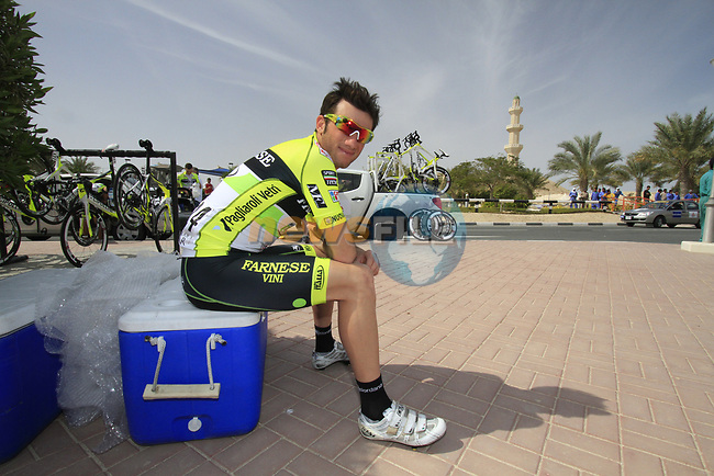 Farnese Vini-Selle Italia team rider Thomas Bertolini (ITA) chills before the start of the 3rd Stage of the 2012 Tour of Qatar running 146.5km from Dukhan Souq, Dukhan to Al Gharafa, Qatar. 7th February 2012.<br /> (Photo Eoin Clarke/Newsfile)