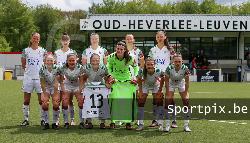 Lenie Onzia (8) of OHL, Zenia Mertens (6) of OHL, Auke Swevers (4) of OHL, Hannah Eurlings (9) of OHL, Auke Swevers (4) of OHL (front row L to R) Estee Cattoor (11) of OHL, Marie Detruyer (17) of OHL, Sara Yuceil (13) of OHL, Goalkeeper Louise Van Den Bergh (1) of OHL, Luna Vanzeir (10) of OHL and Jill Janssens (7) of OHL pose for the team photo before a female soccer game between Oud Heverlee Leuven and AA Gent Ladies on the 9 th matchday of play off 1 in the 2020 - 2021 season of Belgian Womens Super League , saturday 22 nd of May 2021  in Heverlee , Belgium . PHOTO SPORTPIX.BE   SPP   SEVIL OKTEM