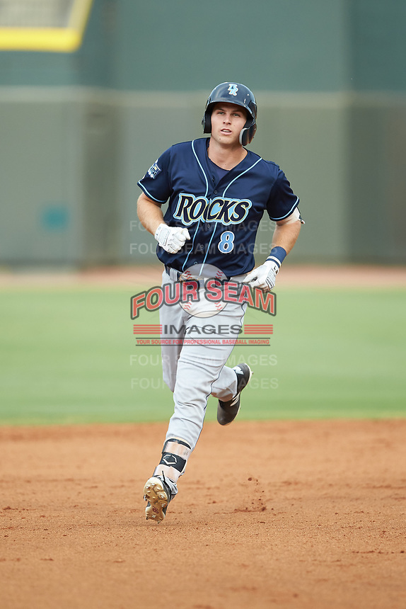 Brewer Hicklen (8) of the Wilmington Blue Rocks rounds the bases after hitting a home run against the Winston-Salem Warthogs at BB&T Ballpark on July 17, 2019 in Winston-Salem, North Carolina. The Blue Rocks defeated the Warthogs 4-1. (Brian Westerholt/Four Seam Images)