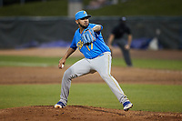 Myrtle Beach Pelicans relief pitcher Carlos Ocampo (17) in action against the Lynchburg Hillcats at Bank of the James Stadium on May 22, 2021 in Lynchburg, Virginia. (Brian Westerholt/Four Seam Images)