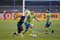 SAN JOSE, CA - OCTOBER 18: Jordan Morris #13 of the Seattle Sounders during a game between Seattle Sounders FC and San Jose Earthquakes at Earthquakes Stadium on October 18, 2020 in San Jose, California.