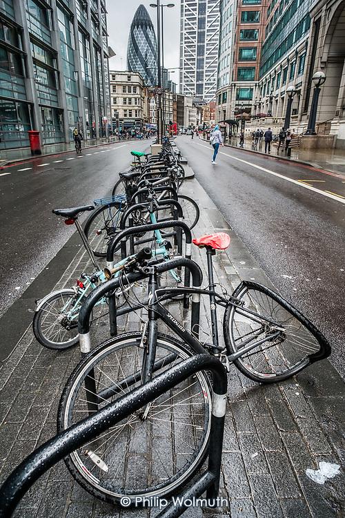 Crushed bicycle, Bishopsgate, London.