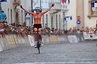 11th September 2021: Trento, Trentino–Alto Adige, Italy: UEC Road European Womens Elite Cycling Championships;  Ellen VAN DIJK (NED) crosses the finish line to win and celebrates