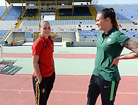 20180307 - LARNACA , CYPRUS :  Belgian Jassina Blom pictured with South-African Roxanne Barker during a women's soccer game between  South Africa and the Belgian Red Flames  , on Wednesday 7 March 2018 at the GSZ Stadium in Larnaca , Cyprus . This is the final game in a decision for 5th or 6th place for Belgium during the Cyprus Womens Cup , a prestigious women soccer tournament as a preparation on the World Cup 2019 qualification duels. PHOTO SPORTPIX.BE | DAVID CATRY