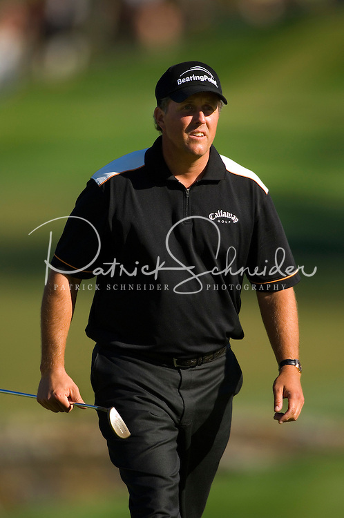 Phil Mickelson walks up the fairway during the 2007 Wachovia Championships at Quail Hollow Country Club in Charlotte, NC.
