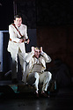London, UK. 30.04.2014. English National Opera gives the world premiere of British composer Julian Anderson's first opera, THEBANS. Picture shows: Peter Hoare (Creon) and Roland Wood (Oedipus). Photograph © Jane Hobson.