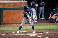 Liberty Flames shortstop Cam Locklear (18) at bat against the Duke Blue Devils in NCAA Regional play on Robert M. Lindsay Field at Lindsey Nelson Stadium on June 4, 2021, in Knoxville, Tennessee. (Danny Parker/Four Seam Images)