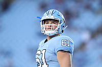 CHAPEL HILL, NC - SEPTEMBER 07: Drew Little #61 of the University of North Carolina during a game between University of Miami and University of North Carolina at Kenan Memorial Stadium on September 07, 2019 in Chapel Hill, North Carolina.