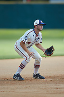 High Point-Thomasville HiToms third baseman Michael Turconi (4) (Wake Forest) on defense against the Martinsville Mustangs at Finch Field on July 26, 2020 in Thomasville, NC.  The HiToms defeated the Mustangs 8-5. (Brian Westerholt/Four Seam Images)