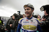 also extremely happy: runner-up for the podium and teammate Edward Theuns (BEL/TopsportVlaanderen-Baloise)<br /> <br /> 70th Dwars Door Vlaanderen 2015