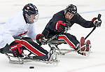 Sochi, RUSSIA - Mar 2 2014 -  Dominic Larocque and Adam Dixon during practice before the 2014 Paralympics in Sochi, Russia.  (Photo: Matthew Murnaghan/Canadian Paralympic Committee)