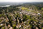 Aerial view of the Hillsdale neighborhood in southwest Portland, Oregon.