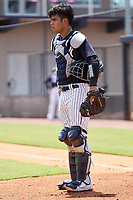 FCL Yankees catcher Antonio Gomez (55) during a game against the FCL Blue Jays on June 29, 2021 at the Yankees Minor League Complex in Tampa, Florida.  (Mike Janes/Four Seam Images)
