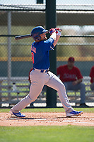 Chicago Cubs first baseman Cam Balego (9) during a Minor League Spring Training game against the Los Angeles Angels at Sloan Park on March 20, 2018 in Mesa, Arizona. (Zachary Lucy/Four Seam Images)