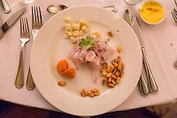 Peru, Lima, Miraflores.  Huaca Pucllana Restaurant.  Cebiche Appetizer.