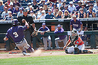 Texas Tech Red Raiders catcher Tyler Floyd (16) reaches for the ball as TCU Horned Frogs baserunner Elliott Barzilli (3) slides safely home during Game 3 of the NCAA College World Series on June 19, 2016 at TD Ameritrade Park in Omaha, Nebraska. TCU defeated Texas Tech 5-3. (Andrew Woolley/Four Seam Images)
