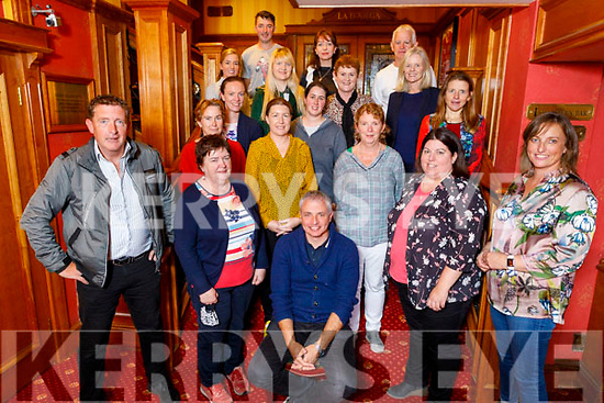 Sean Geaney (seated) enjoying his farewell party on Friday with his teaching colleagues from Gaeilscoil Aogáin NS in the River Island Hotel in Castleisland as he now moves back to Dingle.