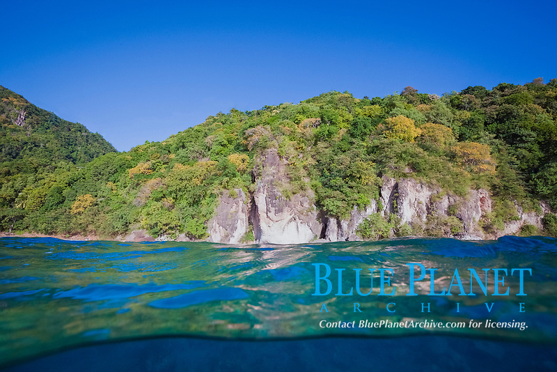 waterline shot of the coast of Dominica, Caribbean, Atlantic