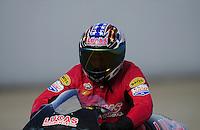 Nov. 13, 2011; Pomona, CA, USA; NHRA pro stock motorcycle rider Hector Arana Sr during the Auto Club Finals at Auto Club Raceway at Pomona. Mandatory Credit: Mark J. Rebilas-.