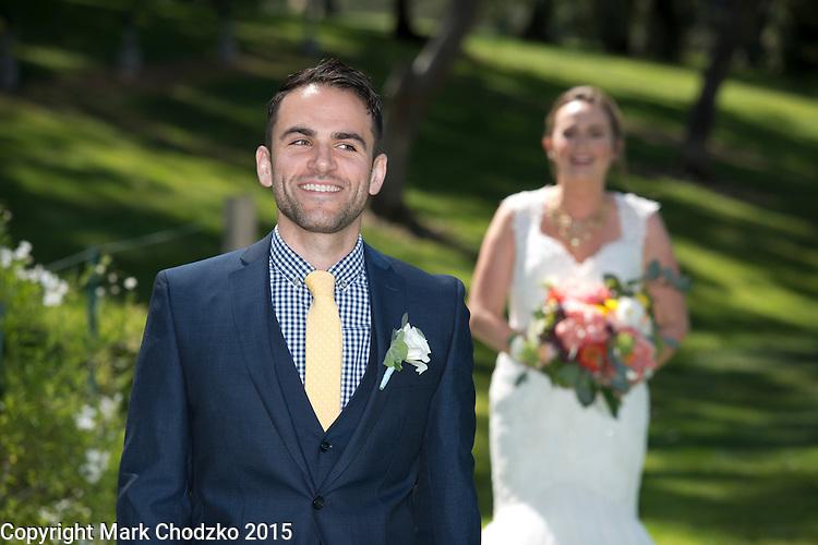 Josh waits to see his bride.