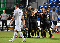 LAKE BUENA VISTA, FL - JULY 18: LAFC celebrate a goal by Mohamed El-Munir #13 of LAFC during a game between Los Angeles Galaxy and Los Angeles FC at ESPN Wide World of Sports on July 18, 2020 in Lake Buena Vista, Florida.