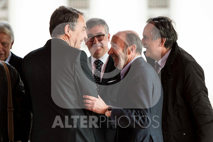 Jose Luis Rodriguez Zapatero and Alfredo Perez Rubalcaba attends to the act of imposition of the great cross of the civil order of Alfonso X el Sabio to D. Francisco Luzon Lopez at Reina Sofia Museum in Madrid. March 13, 2017. (ALTERPHOTOS/Borja B.Hojas)