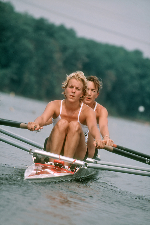 Two woman rowers rowing a double racing shell, US Masters National Regatta, Alexandria, Virginia,