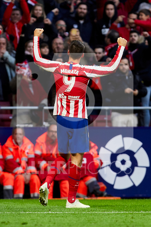 Alvaro Morata of Atletico de Madrid celebrates goal during La Liga match between Atletico de Madrid and RCD Espanyol at Wanda Metropolitano Stadium in Madrid, Spain. November 10, 2019. (ALTERPHOTOS/A. Perez Meca)