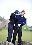 Pic Kenny Smith............. 02/10/2009.Dunhill Links Champioship, St Andrews  Links, David Howell and Hugh Grant pose for photos and have a carry on on the Swilken Bridge as they finish their round