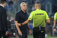 26th September 2021;  Stadio Olimpico, Rome, Italy; Italian Serie A football, SS Lazio versus AS Roma; Roma trainer Jose Mourinho is warned on his verbals by Referee Marco Guida